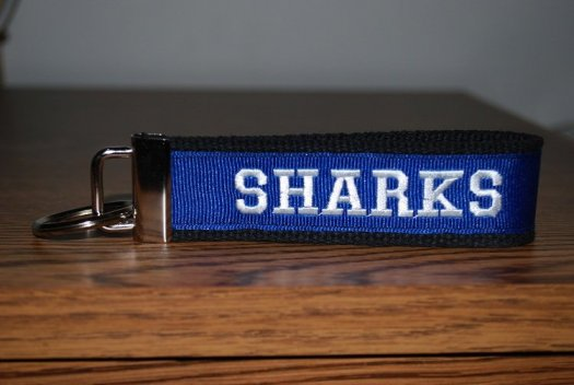 Key Chain - Black and Blue with SHARKS
