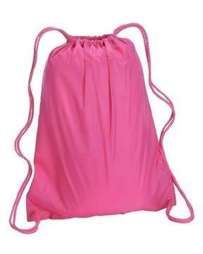"Lightweight Drawstring Backpack (17"" x 20"") - Hot Pink"