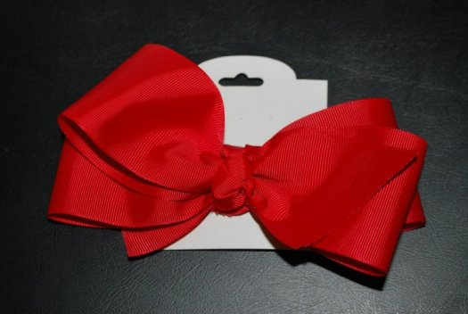 Large Ribbon Hair Bow - JEC-LG-RB-RED-5