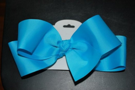 Large Ribbon Hair Bow - JEC-LG-RB-TURQUOISE-12