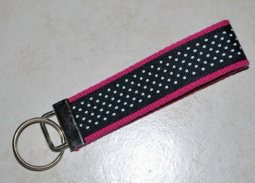 Key chain Hot Pink with black ribbon and white dots
