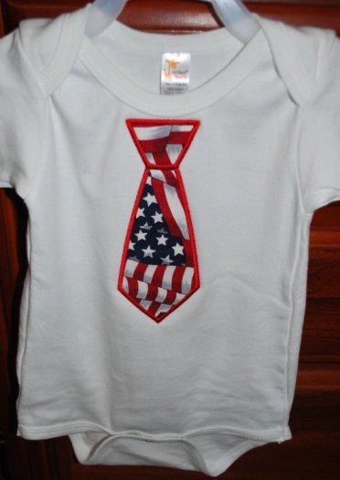 Flag Tie Applique on onesie