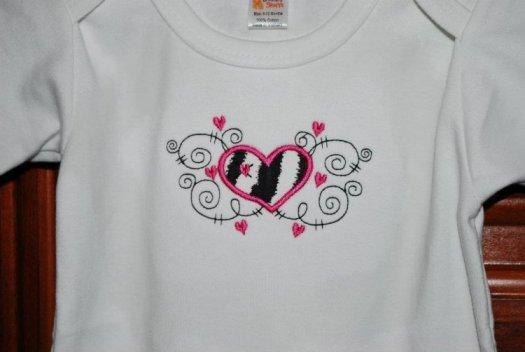 Heart design Applique on onesie