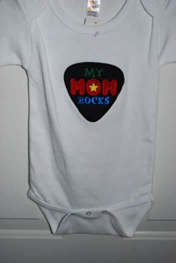 Guitar Pick Applique with My Mom Rocks on onesie