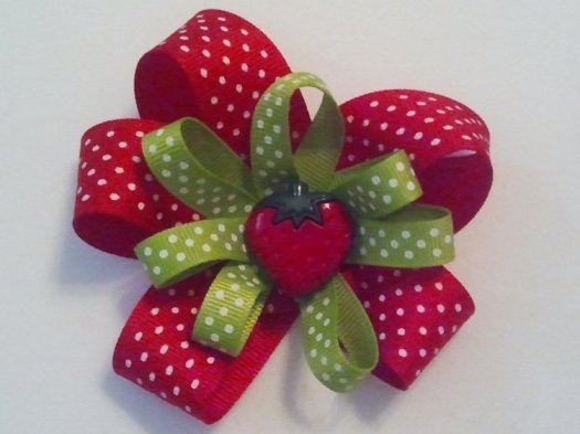 Red, Green with Strawberry Hair Bow - JEC-SB-RGBERRY-1