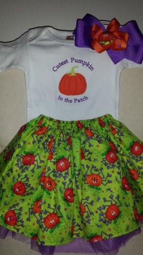 Onesie with pumpkin applique, cover skirt, purple tutu and matching hair bow