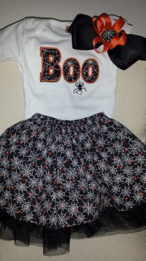 Onesie with Boo applique, cover skirt, black tutu and matching hair bow