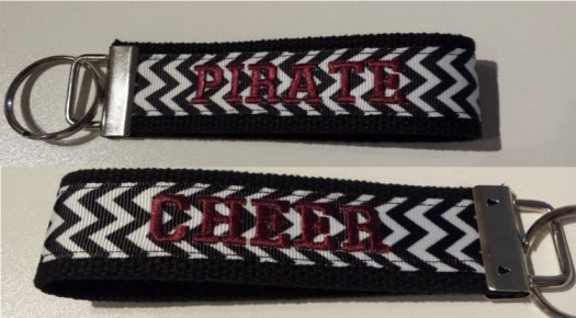 Key chain Black with black & white chevron print customize 1 or 2 sides with an embroidered word