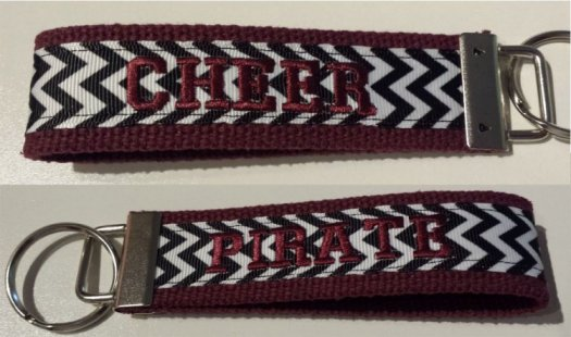 Key chain maroon with black & white chevron print customize 1 or 2 sides with an embroidered word