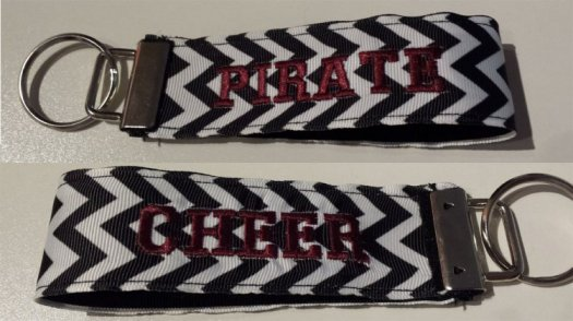 Key chain black & white chevron print customize 1 or 2 sides with an embroidered word