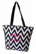 BRHS Tote Bag - Black and White Chevron w/ zippered closure