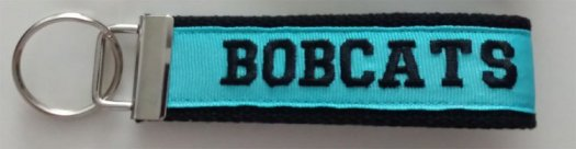 Key chain Black and Turquoise with BOBCATS