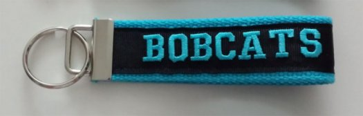 Key chain Turquoise and Black with BOBCATS