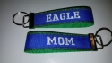 Key Chain - Glitter Green and Blue with EAGLE MOM