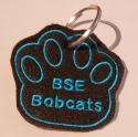 Key chain / Bag Tag black pawprint embroidered with BSE Bobcats